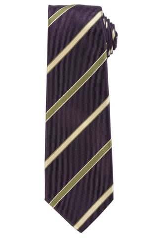 KITON Napoli Hand-Made Seven Fold Purple Striped Textured Silk Tie NEW