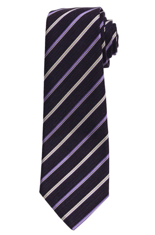 KITON Napoli Hand-Made Seven Fold Purple Textured Diagonal Striped Silk Tie NEW