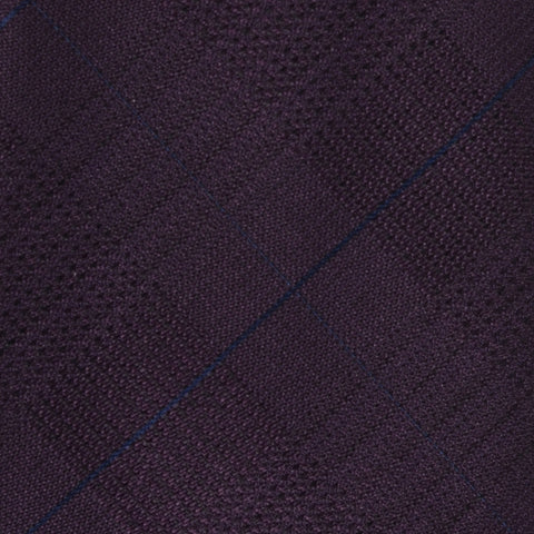 KITON Napoli Hand-Made Seven Fold Purple Textured Plaid Silk Tie NEW