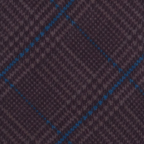 KITON Napoli Hand-Made Seven Fold Purple Wool-Silk Plaid Tartan Tie NEW