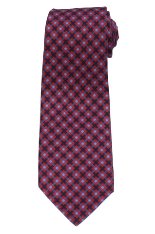 KITON Napoli Hand-Made Seven Fold Red-Blue Plaid Silk Tie NEW