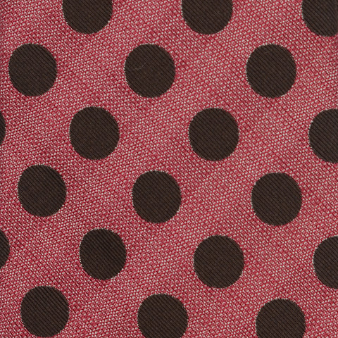 KITON Napoli Hand-Made Seven Fold Red Big Polka-Dot Silk Tie NEW