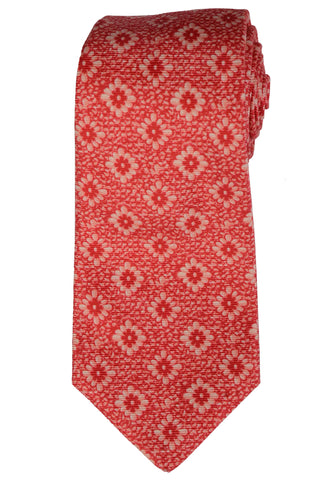 KITON Napoli Hand-Made Seven Fold Red Floral Silk Tie NEW - SARTORIALE - 1