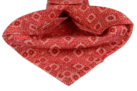 KITON Napoli Hand-Made Seven Fold Red Floral Silk Tie NEW - SARTORIALE - 2