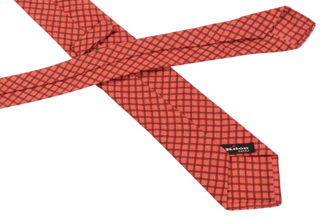 KITON Napoli Hand-Made Seven Fold Red Plaid Silk Tie NEW - SARTORIALE - 2