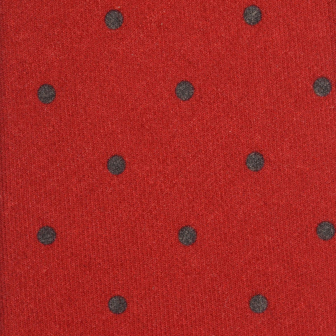 KITON Napoli Hand-Made Seven Fold Red Polka-Dot Print Silk-Cashmere Tie NEW