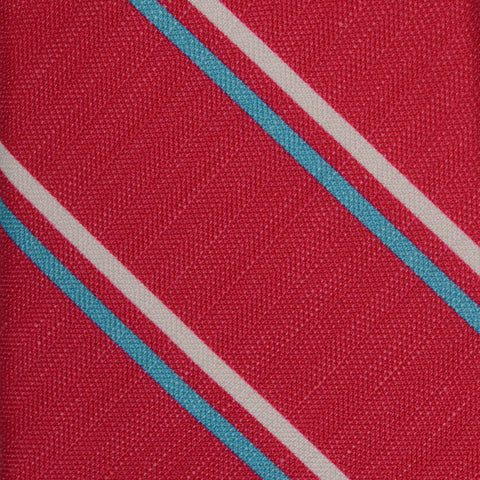 KITON Napoli Hand-Made Seven Fold Red Striped Printed Silk Tie NEW