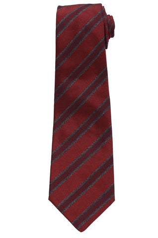 KITON Napoli Hand-Made Seven Fold Red Textured Diagonal Striped Silk Tie NEW
