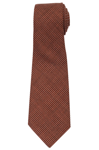 KITON Napoli Hand-Made Seven Fold Red Wool-Silk Sheperd's Check Tie NEW