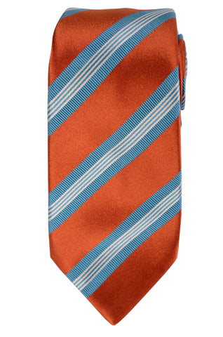 KITON Napoli Hand-Made Seven Fold Rust-Blue Striped Silk Tie NEW - SARTORIALE - 1