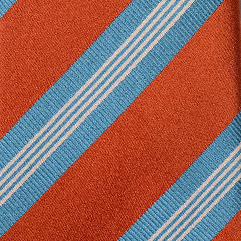 KITON Napoli Hand-Made Seven Fold Rust-Blue Striped Silk Tie NEW - SARTORIALE - 4