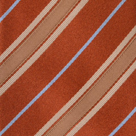 KITON Napoli Hand-Made Seven Fold Rust Narrow-Striped Silk Tie NEW