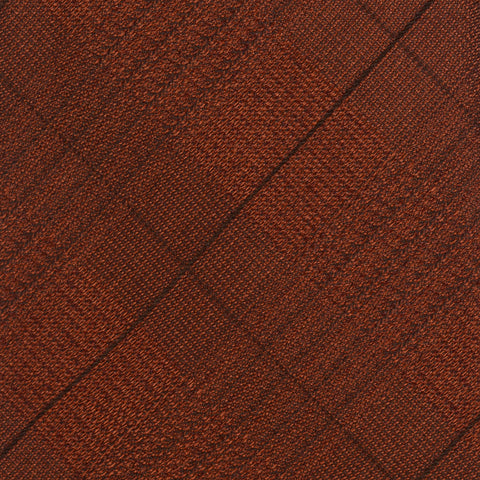 KITON Napoli Hand-Made Seven Fold Rust Plaid Silk Tie NEW