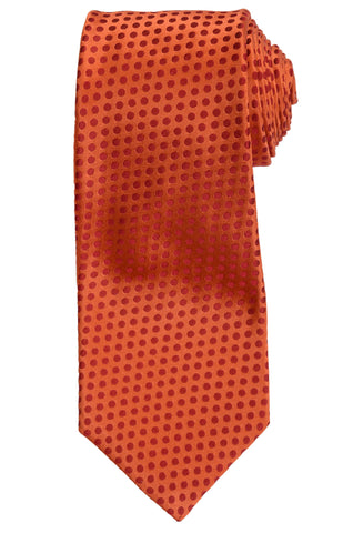 KITON Napoli Hand-Made Seven Fold Rust Polka Dot Silk Tie NEW