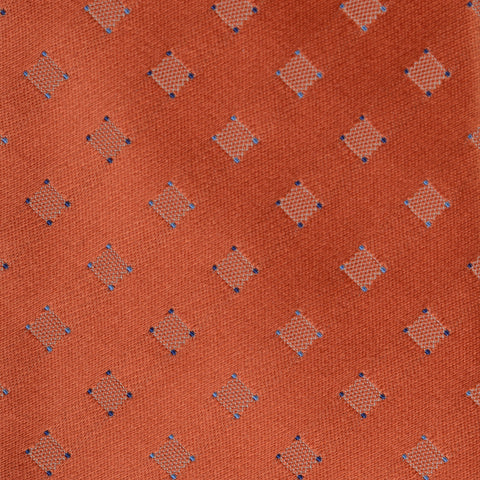 KITON Napoli Hand-Made Seven Fold Rust Squared Medallion Silk Tie NEW