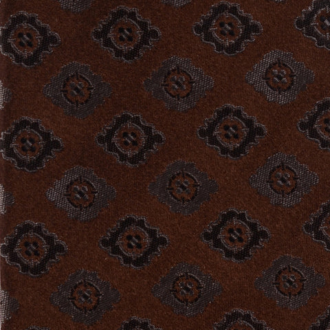 KITON Napoli Hand-Made Seven Fold Satin Brown Flower Medallion Silk Tie NEW - SARTORIALE - 4