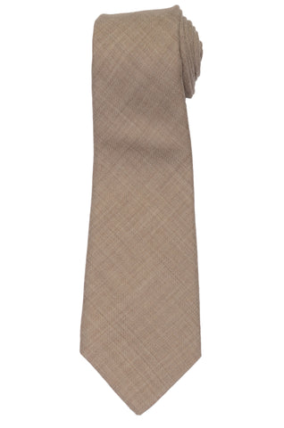 KITON Napoli Hand-Made Seven Fold Solid Beige Wool-Silk Tie NEW