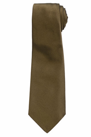 KITON Napoli Hand-Made Seven Fold Solid Olive Satin Silk Tie NEW