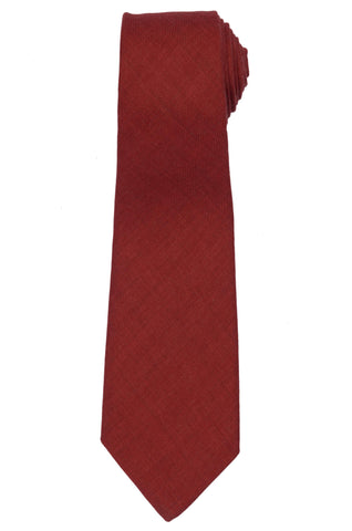 KITON Napoli Hand-Made Seven Fold Solid Red Wool-Silk Tie NEW