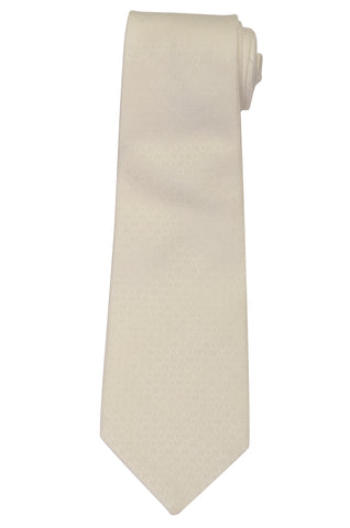 KITON Napoli Hand-Made Seven Fold Solid White Textured Plaid Silk Tie NEW