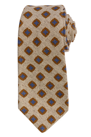 KITON Napoli Hand-Made Seven Fold Tan Square Medallion Silk Tie NEW
