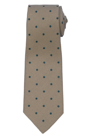 KITON Napoli Hand-Made Seven Fold Taupe Polka-Dot Cashmere-Silk Tie NEW