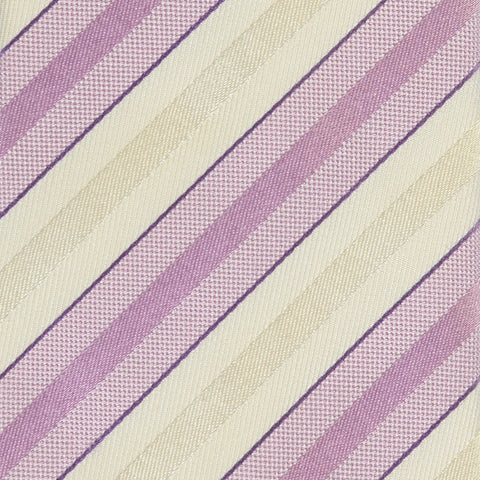 KITON Napoli Hand-Made Seven Fold White-Light Purple Rope Striped Silk Tie NEW - SARTORIALE - 4