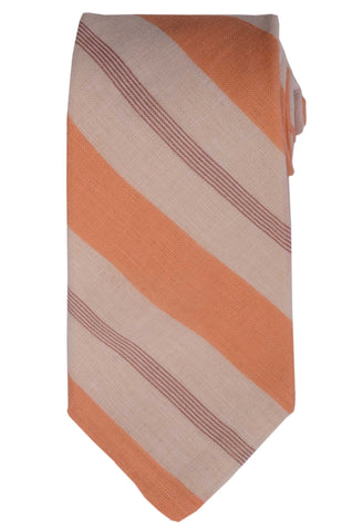 KITON Napoli Hand-Made Seven Fold White-Orange Striped Linen Tie NEW - SARTORIALE - 1