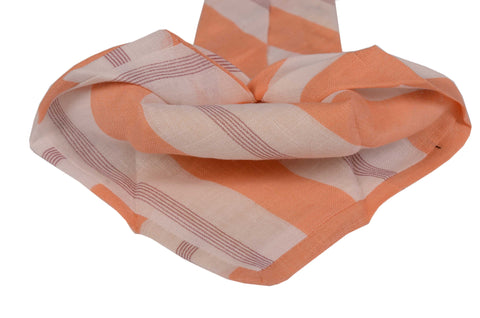 KITON Napoli Hand-Made Seven Fold White-Orange Striped Linen Tie NEW - SARTORIALE - 2