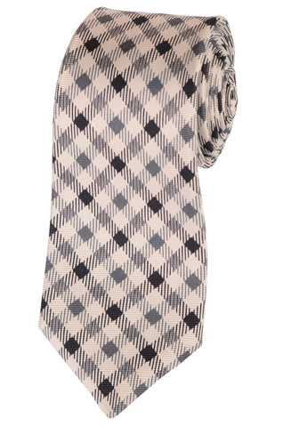 KITON Napoli Hand-Made Seven Fold White Plaid Print Silk Tie NEW - SARTORIALE - 1