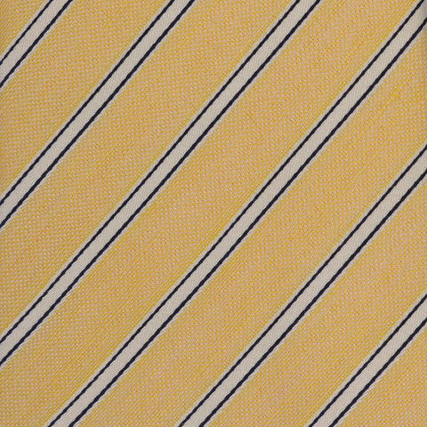 KITON Napoli Hand-Made Seven Fold Yellow-Ivory Narrow Striped Silk Tie NEW