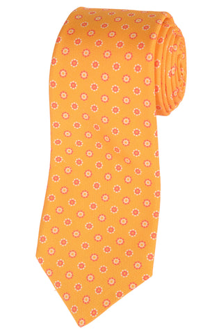 KITON Napoli Hand-Made Seven Fold Yellow Daisy Medallion Silk Tie NEW - SARTORIALE - 1