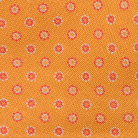 KITON Napoli Hand-Made Seven Fold Yellow Daisy Medallion Silk Tie NEW - SARTORIALE - 4
