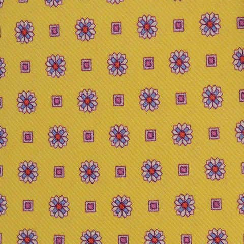 KITON Napoli Hand-Made Seven Fold Yellow Floral Silk Tie NEW