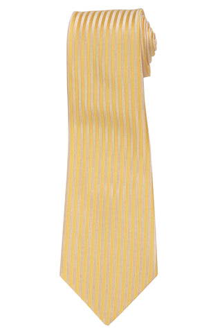 KITON Napoli Hand-Made Seven Fold Yellow Striped Silk Tie NEW
