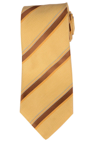 KITON Napoli Hand-Made Seven Fold Yellow Striped Silk Tie NEW - SARTORIALE - 1