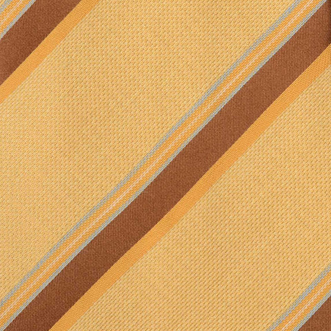 KITON Napoli Hand-Made Seven Fold Yellow Striped Silk Tie NEW - SARTORIALE - 4