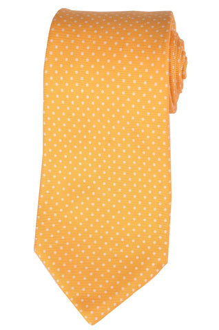 KITON Napoli Hand-Made Seven Fold Yellow Textured Polka-Dot Silk Tie NEW - SARTORIALE - 1