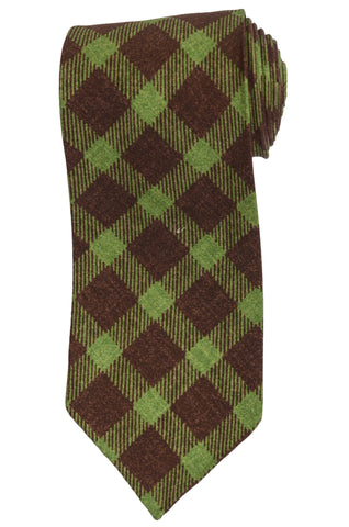 KITON Napoli Hand-Roll Seven Fold Brown-Green Plaid Silk Unlined Tie NEW