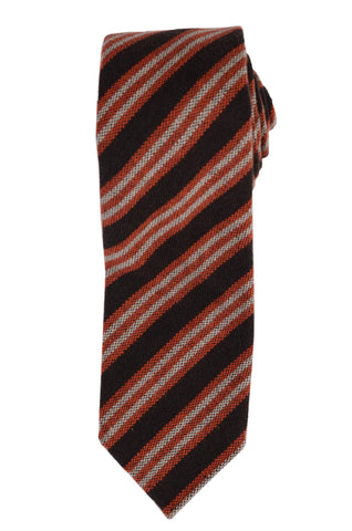 KITON Napoli Hand-Roll Seven Fold Brown Cashmere Striped Unlined Tie NEW