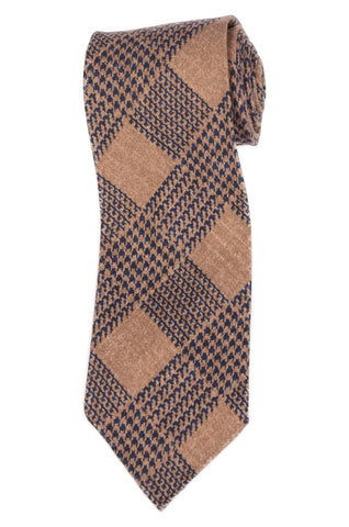 KITON Napoli Hand-Roll Seven Fold Brown Plaid Silk Unlined Tie NEW