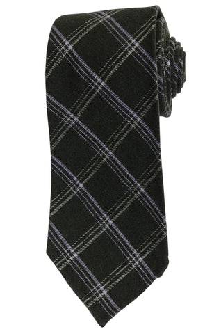KITON Napoli Hand-Roll Seven Fold Green Plaid Cashmere-Silk Unlined Tie NEW