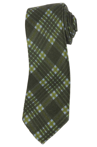 KITON Napoli Hand-Roll Seven Fold Green Plaid Cashmere Silk Unlined Tie NEW