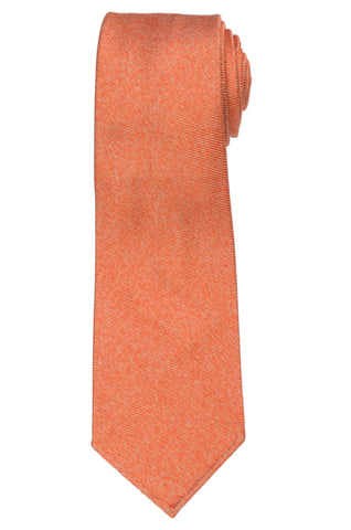 KITON Napoli Hand-Roll Seven Fold Orange Unlined Textured Cotton-Silk Tie NEW