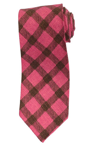 KITON Napoli Hand-Roll Seven Fold Pink Plaid Silk Unlined Tie NEW