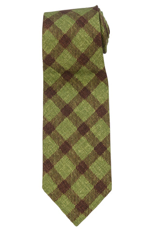KITON Napoli Hand-Rolled Unlined Seven Fold Green-Brown Plaid Silk Tie NEW