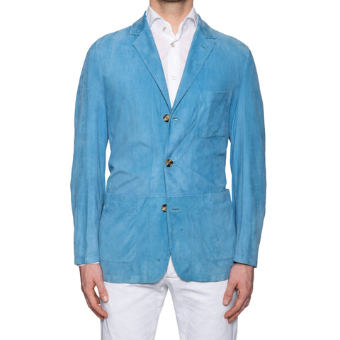 KITON Napoli Hand Made Blue Suede Leather Unlined Jacket Blazer EU 50 US 38 40