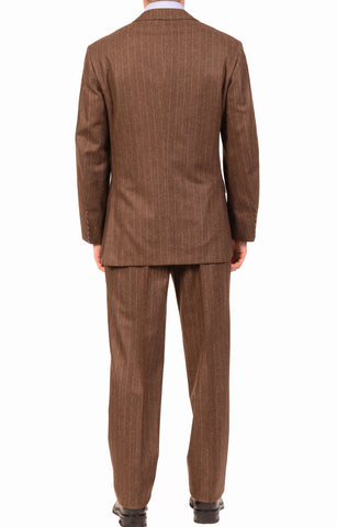 KITON Napoli Hand Made Classic Brown Striped Wool Cashmere Suit EU 52 NEW US 40 - SARTORIALE - 2