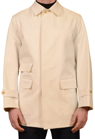 KITON Napoli Hand Made Cream Cotton Unlined Jacket Coat EU 50 NEW US 40