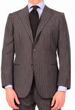 KITON Napoli Hand Made Gray Striped Cashmere Wool Suit EU 47 NEW 36 38 R9 Slim - SARTORIALE - 3